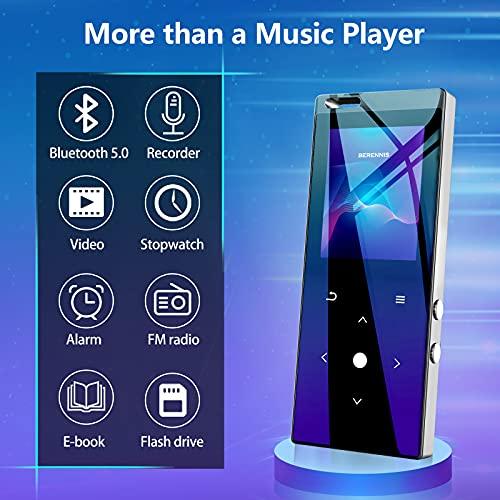 Reproductor de MP3 con Bluetooth, BERENNIS 16 GB portátil sin pérdida de sonido reproductor de música de metal con radio FM grabadora de voz táctil de botón altavoz de música, compatible con hasta 128 GB