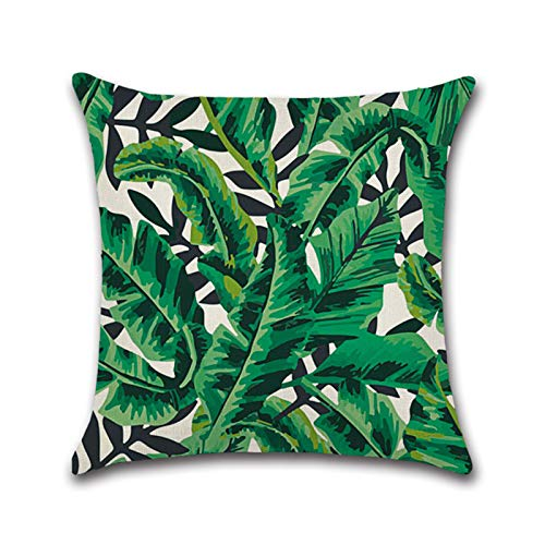 Qiuming 45 * 45cm Green Plant-Printed Square Tropical Style Linen Cushion Cover for Sofa Accessories