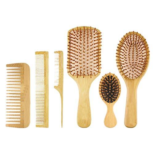 Moligh doll 6 PC/Set Bois Peigne en Plein Air Coussin de Palette Perte de Cheveux Brosse de Massage Brosse à Cheveux Peigne Cuir Chevelu Soins des Cheveux Sain Bambou Peigne