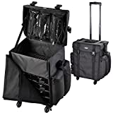 AW Soft Sided 1680D Rolling Makeup Case Cosmetic Organize Storage Travel Case Removable 360-Degree Wheel Storage Drawer