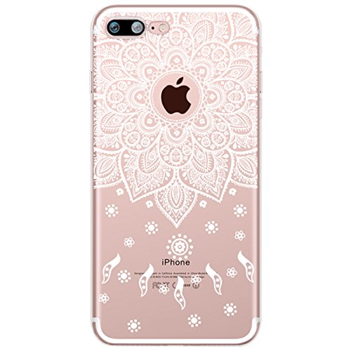 Surakey Compatibile per iPhone 5/5S/SE Custodia in Silicone Trasparente Disegno Bianco Pizzo Fiori Case TPU Gomma Morbida Flessibile Protettiva Skin Antiurto Bumper Ultra Sottile Cover,Mandala#8
