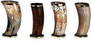 "PARIJAT HANDICRAFT Set of 4 Ceremonial 6"" Viking Drinking Horn Mug Cups for ale Beer Wine Mead Gift"