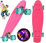 Monopatín Completo Mini Cruiser Skateboard para niños Adultos jóvenes, 55 cm monopatín Completo de Crucero para niños niñas, Mini Monopatín Retro Patinete con Ruedas con Luces (Rosa)