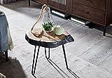 FineBuy Beistelltisch Akazie Massivholz/Metall Industrial 40x40x32cm Baumkante | Wohnzimmertisch Sofatisch Massiv Haarnadelbeine | Kleiner Anstelltisch Tisch Wohnzimmer - 5