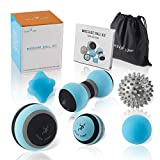 Massage Ball Kit for Myofascial Trigger Point Release & Deep Tissue Massage - Set of 6 - Large Foam/Small Foam/Lacrosse/Peanut/Spiky/Hand Exercise Ball - Carry Bag & Exercise Guide Included