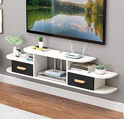 Mueble de TV Flotante,Unidad de Entretenimiento Flotante con 2 Cajones, Estante Flotante para Componentes Soporte de TV para Sala Estar Y Dormitorio en Casa/A/Los 140CM