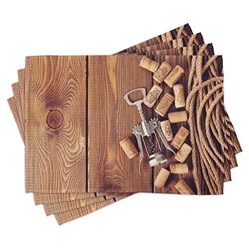 ABAKUHAUS Azienda vinicola Tovaglietta Americana Set di 4, Tavolo in Legno Tappi per Vino, Tovagliette in Tessuto Lavabile per Tavolo da Pranzo Cena, Marrone
