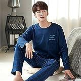 DFDLNL Conjunto de Pijamas de otoño para Hombre, Conjunto de Pijama de Manga Larga para Hombre, Pijama de algodón 100% para Hombre, Traje XXXL MP20712