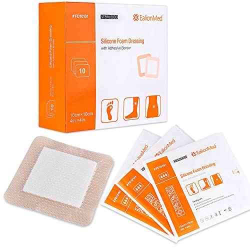Silicone Foam Dressing with Gentle Adhesive Border 4''x4'' 10 Pack, Painless Removal High Absorbency Bed Sore Wound Bandage for Pressure Sore, Leg Ulcer, Diabetic Ulcer by Ealionmed