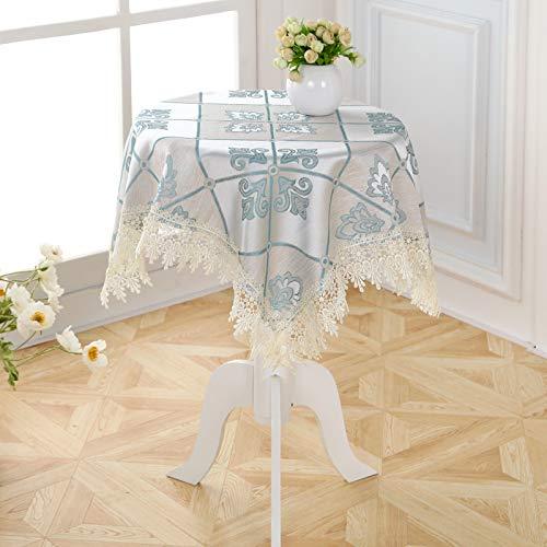 Mantel rectangular de lino y algodón, sin arrugas, con borlas, lavable, para cocina, comedor, fiesta, 80 x 80 cm