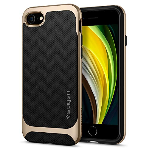 Spigen Cover Neo Hybrid Herringbone Compatibile con iPhone SE 2020 Compatibile con iPhone 8 Compatibile con iPhone 7 - Champagne Gold