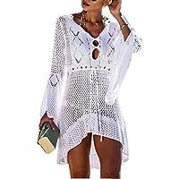 Jinsha Vestido de Playa - Mujer Pareos y Camisola de Playa Sexy Hueco Traje de Baño Punto Bikini Cover up (White)