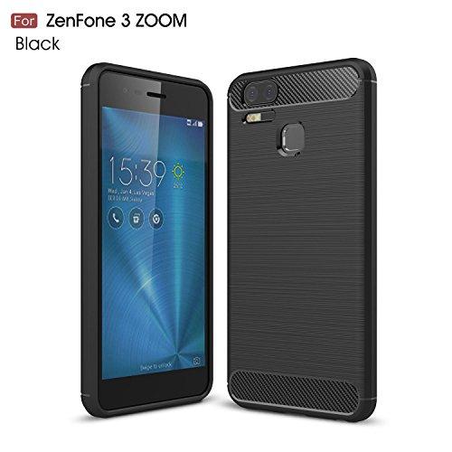 pinlu® Funda para ASUS Zenfone 3 Zoom S ZE553KL Suave TPU Gel Silicona Case Fibra de Carbon Protector Elástico Funda Ultra Slim Anti-Rasguño Shock-Absorción Diseño Negro