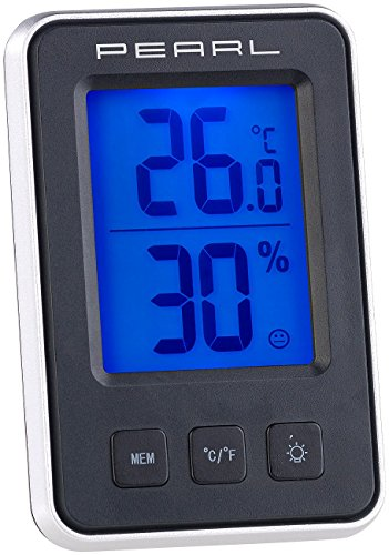 PEARL Thermo Hygrometer: Digitales Thermometer/Hygrometer mit großem, beleuchtetem LCD-Display (Hygro Thermometer)