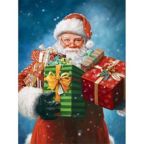 DIY 5D Diamond Painting by Number Kits Regalo de Navidad de Santa Completo Diamante Pintura de Cristal Bordado de Punto de Cruz Arte Manualidades,para Hogar Decor del Pared 45x60cm/18x24in T3598