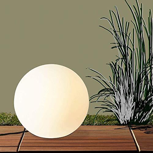 Lightbox Gartenlampe mit Strom - hochwertige Outdoor Lampe, Lichtkugel mit Erdspieß, Ø 60cm, 1x E27 Fassung für max. 60W, Kunststoff, weiß