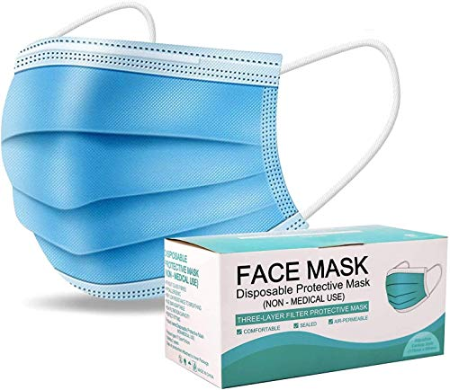 50 PCS Blue Face Masks, Non Woven Thick 3-Layers Breathable Facial Masks with Adjustable Earloop, Mouth and Nose Cover