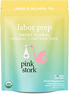 Pink Stork Labor Prep: Sweet Floral Red Raspberry Tea, USDA Organic, For Labor + Delivery, Biodegradable Sachets, 30 Cups