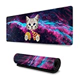 Galaxy Space Kitten Cat Eat Pizza Gaming Mouse Pad, Long Extended XL Mousepad Desk Pad, Large Non-Slip Rubber Mice Pads Stitched Edges, 31.5'' X 11.8''