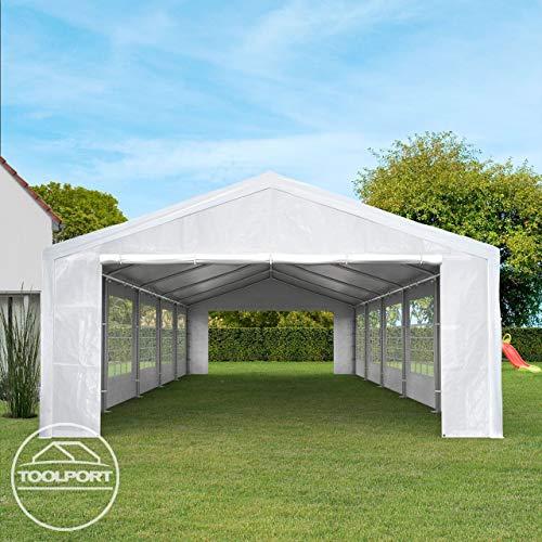 TOOLPORT Partyzelt Pavillon 4x8 m in weiß 180 g/m² PE Plane Wasserdicht UV Schutz Festzelt Gartenzelt - 5