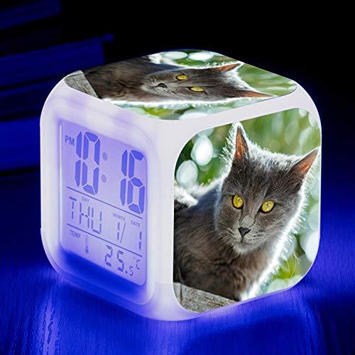 Reloj Despertador Digital LED Niños Cute Cat Decoración 3D 7 Colores Luz de Destello Luz Nocturna Reloj de Mesa LED con Temperatura Fecha