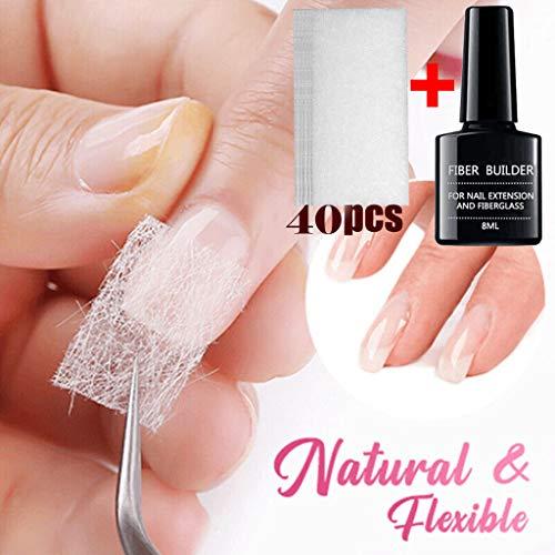 PLENTOP-Magical Nail Extension Silk Fiberglass,Nail Care Fiberglass Silk Nails Wrap Stickers for Gel Extension Nail Art Tools-5/10/15/20/30/40PCS,Nail Glass Fiber Gel (40 PC)