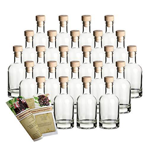 gouveo 24er Set Leere Glasflaschen Klassik 200 ml incl. Holzgriffkorken zum selbst Abfüllen Likörflasche Schnapsflasche, Herzflasche, Ölflasche, Flasche