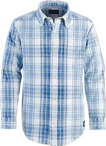 Calvin Klein Boys Big Washout Long Sleeve Plaid Shirt Light Royal Large 14 16 product image