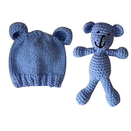 TOYMYTOY Apoyos de la fotografía del recién nacido Sombrero de punto lindo Niños niñas Gorro de fotografía con Crochet Toy Bear (azul)