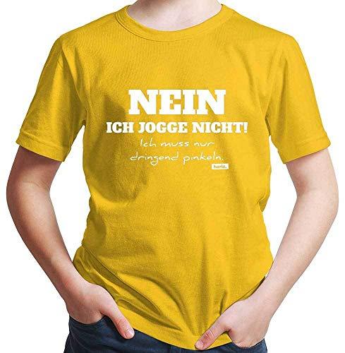 Hariz – Camiseta para niño con texto en alemán 'No Ich Jogge Nicht ich Muss Nur Dringend Pinkeln Jogging Running Plus tarjeta de regalo dorado amarillo 6 años
