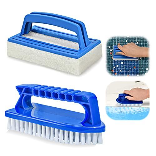 Dereine Pool Bürsten Set 2 Stück Reinigungspad Schwamm Algenbürste Reinigungsbürste Handschrubber Geeignet zum Reinigen von Schmutz und Moos für Spa, Kleines Schwimmbad, Badewannen
