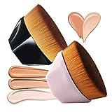 Sunwuun Pennello Fondotinta Liquido Flat Top Pennelli per Trucco Viso Pennello Impeccabile Funzionamento Semplice Pennelli Trucco Senza Soluzione di Continuità Nero + Rosa