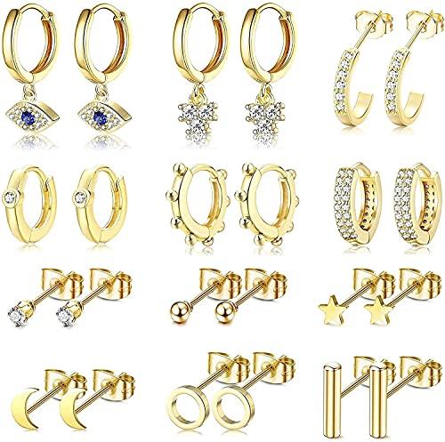 Chyang 12 Pares de Oro/Plateado Pequeño Cuello pequeño Pendientes de aro con Encanto para Mujeres niñas Ojo Malvado Huggie Hoop Pendientes Barra de Bola Pendientes Pendientes (Color : Gold Tone)