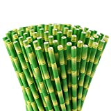 ALINK Bamboo Paper Straws, Biodegradable Disposable Party Drinking Straws for Juices, Shakes and Smoothies, Pack of 100