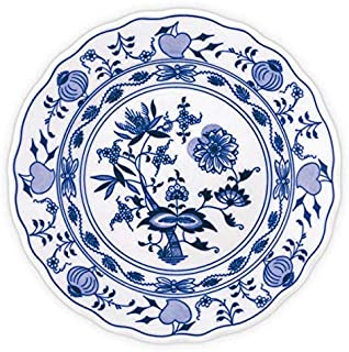 Blue Onion Traditional Czech Porcelain Decor Plate | European Design| Handmade Quality from Bohemian region | (size 8.3) Round Blue and White