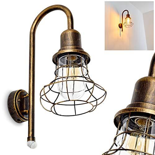 Exterior aplique borkan de metal marrón de oro–Clásica–Lámpara de pared para jardín–Fachadas–Hofmeister
