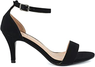 Womens Ankle Strap Sandals Stiletto Low Mid Heel Bridal Party Dressy Shoes