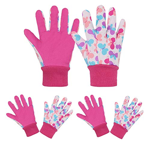 3 pares de guantes de jardinería para niños, diseño suave y cómodo para niños, guantes de trabajo de jardín (M, mariposas rosas)