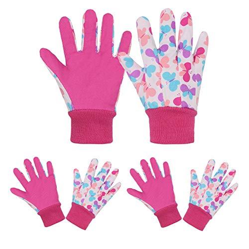 Kinder-Gartenhandschuhe 3 Paar Gartenhandschuhe für Kinder im Alter von 5–9 Jahren, Arbeitshandschuhe (Größe M, rosa Schmetterlinge)