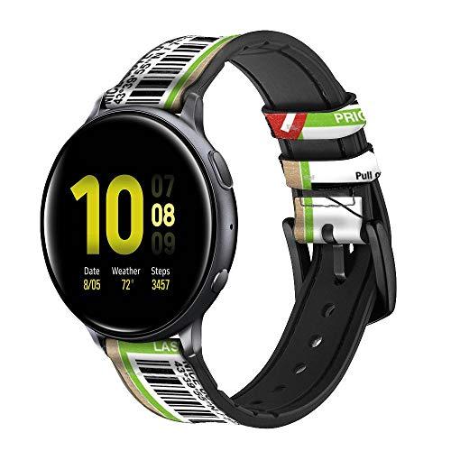 Innovedesire Luggage Tag Art Correa de Reloj Inteligente de Cuero y Silicona para Samsung Galaxy Watch, Watch3 Active, Active2, Gear Sport, Gear S2 Classic Tamaño (20mm)