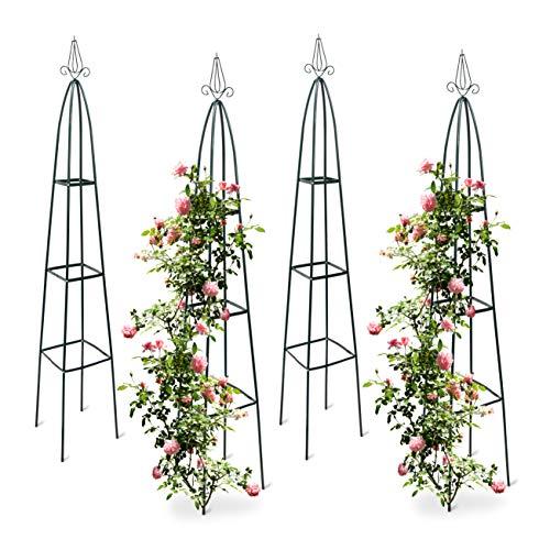 Relaxdays 4X Rankturm, Garten Obelisk, freistehende Rankhilfe für Kletterpflanzen, Ranksäule, Metall, HBT 192 x 35 x 35 cm, grün