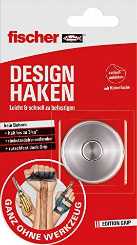 Fischer Design Haken (3 kg), zelfklevende wandhaken in roestvrij staal, zonder boren en schroeven, praktische ophanging, garderobehaken, handdoekhouder, sterke kleefhaken voor maximaal 3 kg