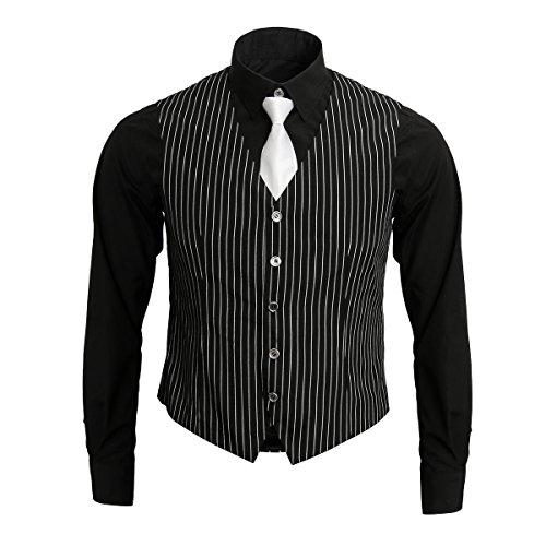 1920s Adult Men's Gangster Shirt, Vest and Tie Costume Accessories Set Roaring 20s Fancy Dress Up Outfit Suit (Medium) Black
