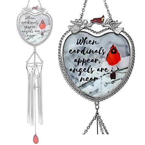 BANBERRY DESIGNS Memorial Wind Chimes - When Cardinals Appear Angels are Near - Red Cardinal Windchimes with a Remembrance Saying Death of a Loved One Family Member