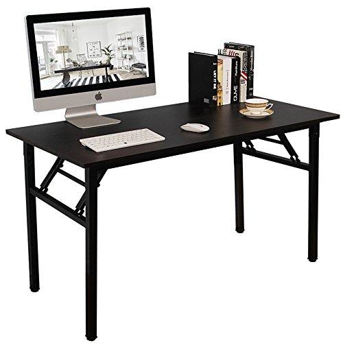 DlandHome Mesa Plegable Mesa de Ordenador Escritorio de Oficina 120x60cm Mesa de Estudio Puesto de Trabajo Mesas de Recepción Mesa de Formación,Negro