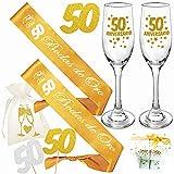 Inedit Festa 50 Bodas de Oro 2 Bandas Bodas de Oro 50 Aniversario Bodas Doradas 2 Copas Cava 50 Aniversario