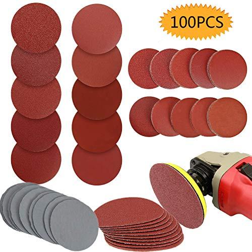 Bluesees - Juego de 100 discos de lija de 75 mm, para lijadora y molinillo de taladro (incluye 80,100,180,240,600,800,1000,1200,2000,3000)