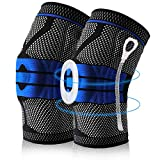 Knee Brace Compression Sleeves, Elastic Knee Wraps Stabilizer with Silicone Gel & Spring Support,...