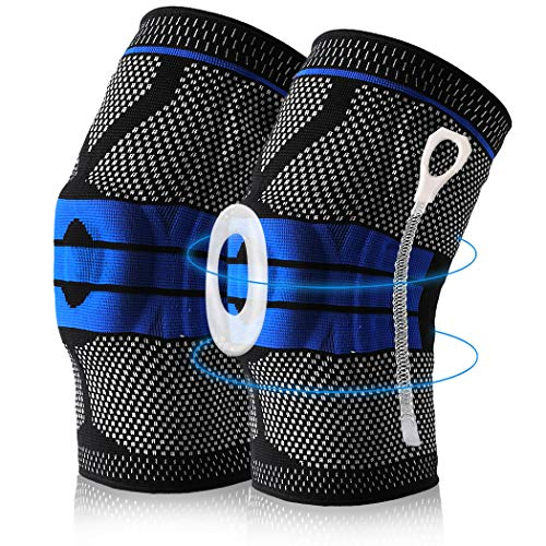 Knee Brace Compression Sleeves, Elastic Knee Wraps Stabilizer with Silicone Gel & Spring Support, Hinged Kneepads Knee Protector for Meniscus Tear Running for Men Women 2 Pack (Blue,X-Large)