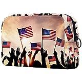 Yitian Grupo de personas ondeando banderas americanas en la parte posterior iluminada bolsa de cosméticos para mujeres, adorables bolsas de maquillaje espaciosas bolsa de aseo de viaje